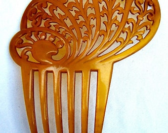 Art Deco hair comb amber Spanish comb hair accessory hair jewellery headdress headpiece decorative comb