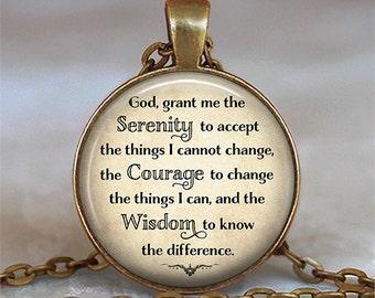Serenity Prayer necklace Serenity Prayer pendant inspirational jewelry inspirational quote spiritual quote jewelry spiritual jewelry key fob