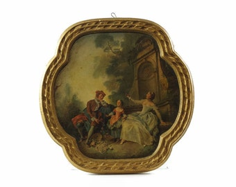 Vintage Chalkware Plaque, Cast Plaster Frame, Rococo, French Romantic, Set of Two