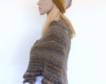 Brown Slouchy hat , Hand knitted slouch beanie Winter hat