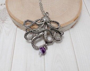 Silver Octopus Necklace - Kraken Necklace