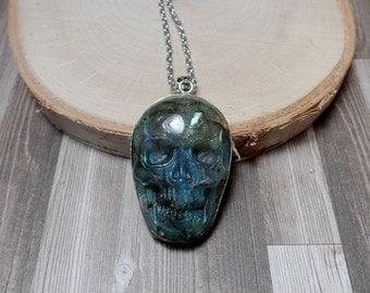 Labradorite Skull Necklace - Carved Gemstone Necklace - No. 1