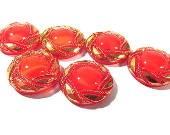 Red Moonglow Glass Shankless Buttons West Germany VINTAGE Red Gold Luster Buttons Six (6) Vintage Buttons Jewelry Sewing Supplies (F138)