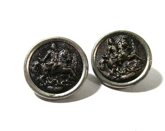 Victorian Buttons Pictorial Joan of Arc? Two (2) VINTAGE Antique Victorian Buttons Vintage Jewelry Sewing Supplies Warrior Woman (S96)