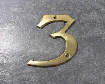 Brass Number 3 House Number VINTAGE House Number 3 Home Improvement Altered Art Assemblage Mosaic Art Supplies Vintage Solid Brass 3 (M37)