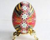 Intricate Pysanka Ukrainian Easter Egg, decorated chicken egg shell