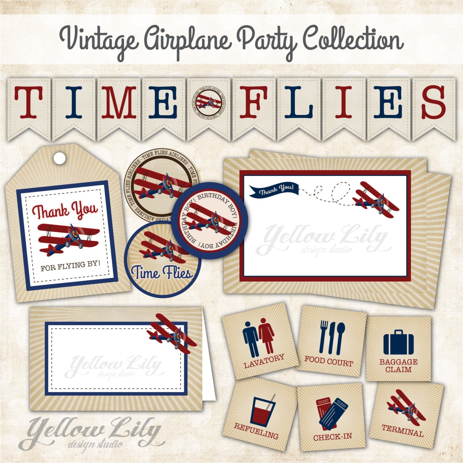 Vintage Airplane Party Printables Airplane Birthday Airplane: Vintage Airplane Birthday Party Collection INSTANT DOWNLOAD