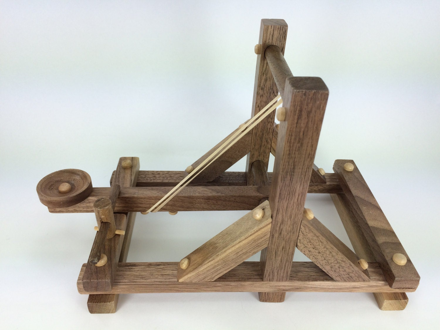 Wooden Toy Catapult Handmade wood toy solid walnut