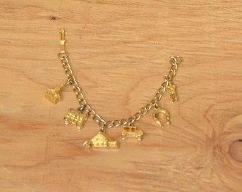 Vintage Gold Tone Western Charm Bracelet Cowgirl Charm