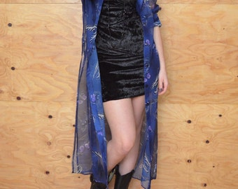 Vintage 80's Sheer Duster Dress Coat In Royal Blue With Butterfly Print Great Accent Piece One Size