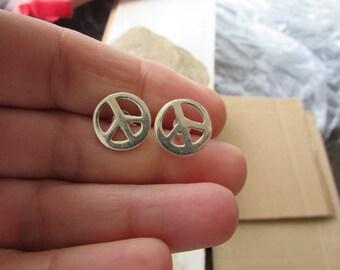 Peace Sign Earrings, Sterling Silver Peace Stud Earrings, Classic Peace Sign Post Earrings, Simple Silver Earrings, Thick Peace Sign Charm