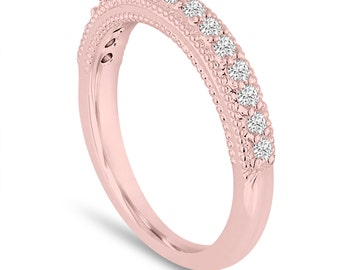 Diamond Wedding Band 0.22 Carat 14K Rose Gold Handmade Milgrain Pave