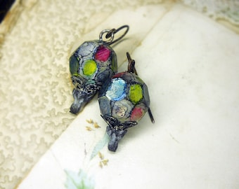 Rustic Assemblage Earrings - Altered Bead Shabby Glam Ruins - Faceted Plastic Rounds - Multicolored Iridescent Metallic Facets