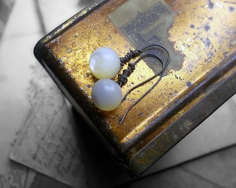 Drop Earrings - Vintage Button Earrings - Sterling Silver Wire - Ethereal Antique Mother of Pearl Round Button Drops - Handmade Ear Wires