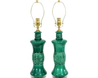 Pair Chinoiserie Emerald Italian Pottery Lamps Zaccagnini Hollywood Regency Chinoiserie