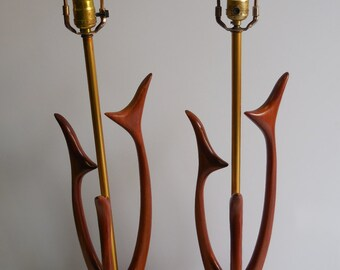 Two vintage Lamps Mid Century Danish Modern matching pair Wood Sculptural metal table lights
