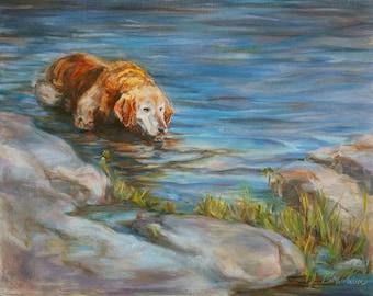 Retriever, Golden Retriever, Dog Portrait, Golden, golden mom, animal art, original pet art, goldie, yellow retriever, Dog in water, 16x20