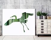 Green Bird poster, heron print, bird silhouette in green, 11x14 bird print green bird art, animal decor, whimsical animal art, minimal print