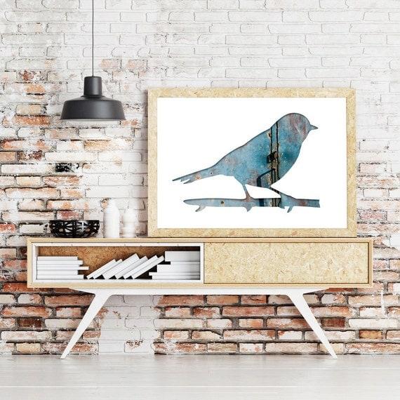 bird silhouette print, thrush poster, 11x14 art print, blue bird print, minimal nursery decor, animal art, bird wall decor, hipster print