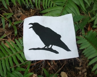 Raven Patch - Crow Patch, punk patches, birds, science, nature, put a bird on it, ecology, corvid, sew on, silhouette, birds, punk patch