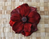 Pin up hair anemone flower in burgundy velvet and silk beautiful colour top quality