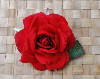 Beautiful silk rose in red hair flower pin up vintage rockabilly style wedding 40s 50s hairflower hair piece fascinator