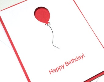 Balloon Birthday Card,  Birthday Card, unisex, for men, for guys, hand drawn with balloon, recycled paper comes with envelope and seal