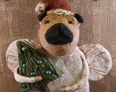 Pug Christmas Angel, , OOAK, hand-sculpted from papier mache, PUG ANGEL,Tree with vintage Christmas bulbs