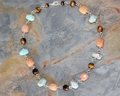 Multicolor Natural Stone Necklace, Orange Blue Brown Necklace, Amazonite Necklace, Aventurine Necklace, Tiger Eye Necklace, Stone Nugget