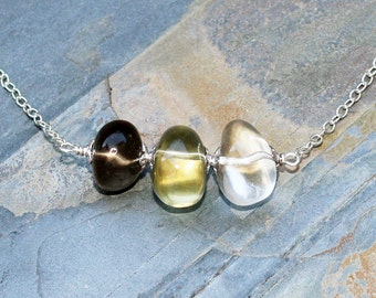 Mixed Gemstone Necklace, Statement Necklace, Smoky Quartz Necklace, Quartz Necklace, Citrine Necklace, Spring Necklace, Mother's Day