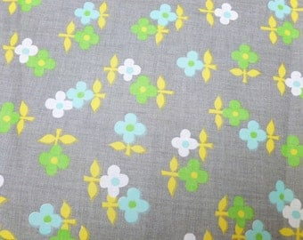 Gray Floral Semi Sheer Fabric with Blue, Green and Yellow Daisies Flowers One Yard Destash Yardage