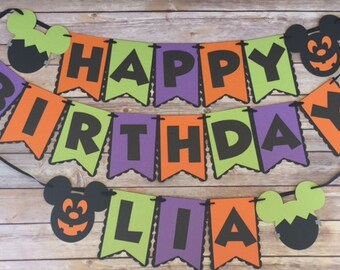 NEW! | Halloween | Mickey Mouse Birthday Banner | Personalized with Name | Mickey Mouse Halloween