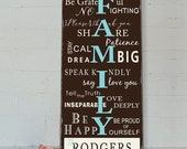 FAMILY RULES- Customize with your name and date - Typography Word Art on Wood- Distressed Sign