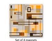 Modern magnet set, geometric refrigerator magnets, tan fridge magnets, set of 4 decorative magnets, kitchen decor, large magnets