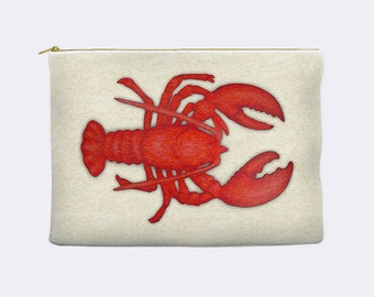 Lobster pouch, nautical pencil case, makeup bag, cosmetic bag, large pencil case, zippered pouch, pencil pouch, pencil bag, make up bag