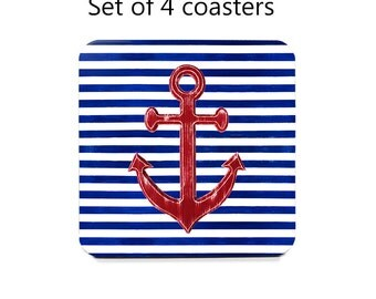 Anchor coaster set, drink coasters, set of 4, nautical coasters, red, white, blue, wine accessories, housewarming gift, cork back coasters