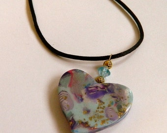 Heart Pendant Heart Necklace Blue Heart Pendant Blue Heart Necklace Valentine's Day Pendant Hand Made