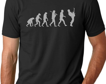 Guitar Player Evolution Tshirt cool Musician T-shirt screenprinted