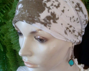 womens Headband extra Wide Headband soft cotton tie dye khaki and white