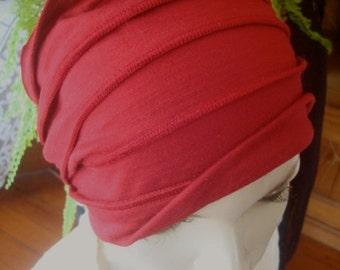 Womens Wide headband fine merino  deep claret head wrap