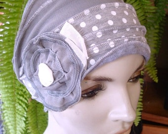 Womens hat Chemo Hat Chemo Headwear soft Flapper silver grey and white spot
