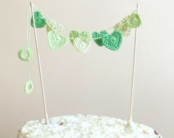 Green hearts cake topper - spring Wedding cake topper - crochet hearts - hearts home decor - green cake topper ~20 inches