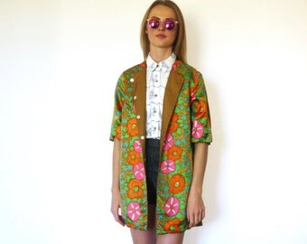 60s Silk Gold Floral Reversible Collarless Light Jacket xs s m