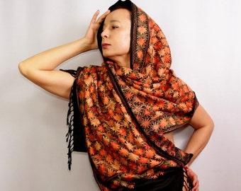 Silk Embroidered Shawl, Black Wedding Shawl, Bridal Pashmina, Silk Scarf, Wool Pashmina Shawl, Oversized Flower Shawl, Wedding Pashmina