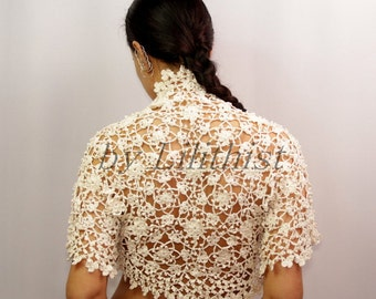 Ivory Lace Bolero, Wedding Shrug, Crochet Shrug, Summer Cover Up, Bridal Shrug Bolero, Pure Cotton Crochet Bolero, Crochet Cardigan  S-M-L