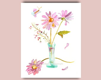 Watercolor Flowers, Girl's Wall Art, Spring Decor, art for girls room, Floral Watercolor Painting, Daisies, nursery decor, light amethyst