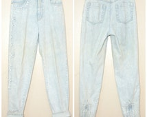 90s Mom Jeans High Waisted Medium 27 28 Waist Embroidery Detail Zipper Ankles Tapered Ankle