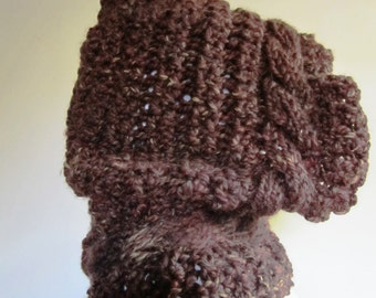 Hood Cowl Chunky Cable Hand Knit Wool Folk Wizard Renaissance Elf SCA Medieval Hoodie - One Size