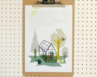 Allotment Garden Greenhouse Print A4
