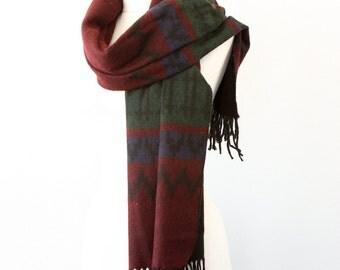 Blanket shawl Large winter scarf Oversized Fringed wrap Dark burgundy Autumn fall fashion Boho chic Bohemian Tribal Christmas gift idea